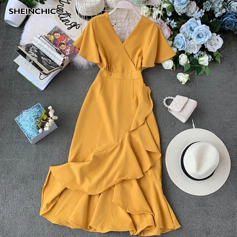 Vintage Irregular Ruffles Solid Yellow Black <font><b>Red</b></font> Midi <font><b>Dress</b></font> Summer 2019 <font><b>Sexy</b></font> V Neck Women <font><b>Dress</b></font> Elegant <font><b>Short</b></font> Sleeve Vestidos image