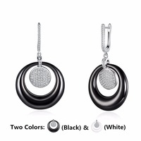 China Porcelain Ceramic Earrings Jewelry Sterling Silver Drop Earrings Rhinestones Round White And Black Earring With