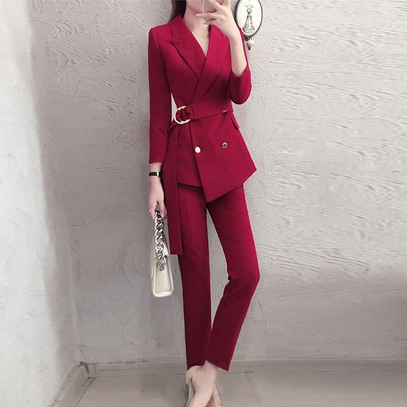 สีแดง RoosaRosee 2019 แฟชั่นเสื้อผ้าสตรี Twinsets Office Lady Wine Red Blazer สีดำเสื้อ + กางเกง 2 ชิ้นชุดชุด-ใน ชุดสตรี จาก เสื้อผ้าสตรี บน   3