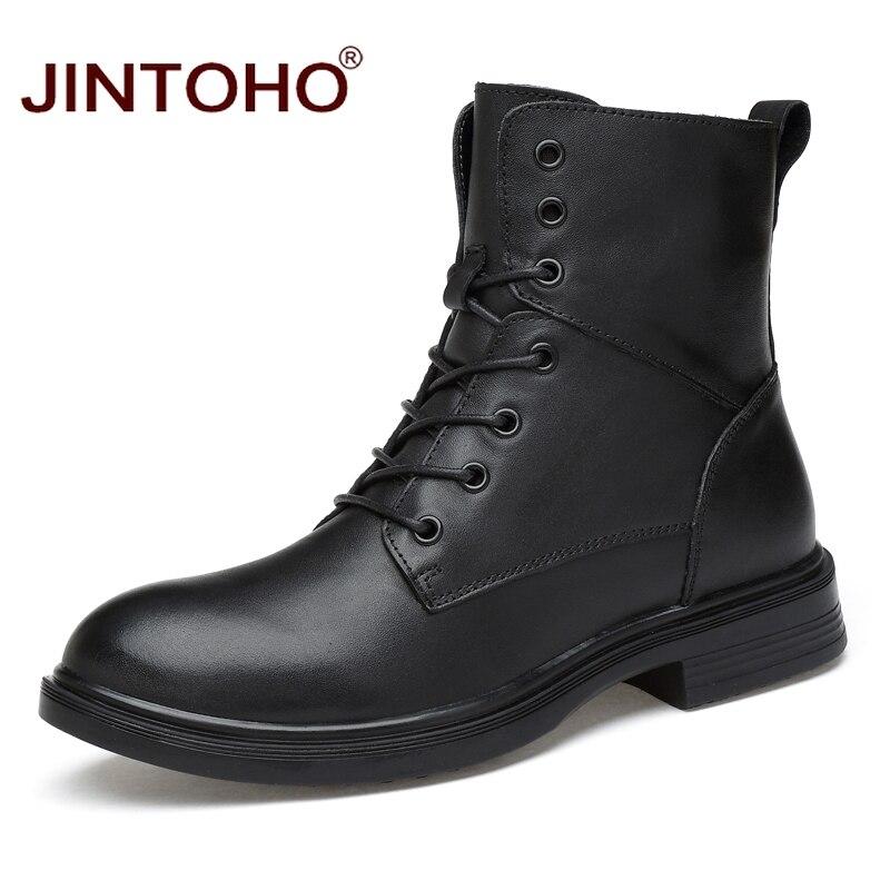 JINTOHO คุณภาพสูงผู้ชายฤดูหนาวรองเท้าหนังแท้รองเท้าแฟชั่นสีดำกลางลูกวัวรองเท้าบูทชายของแท้รองเท้าหนังผู้ชายฤดูหนาวรองเท้า-ใน รองเท้าบูทแบบเบสิก จาก รองเท้า บน   1