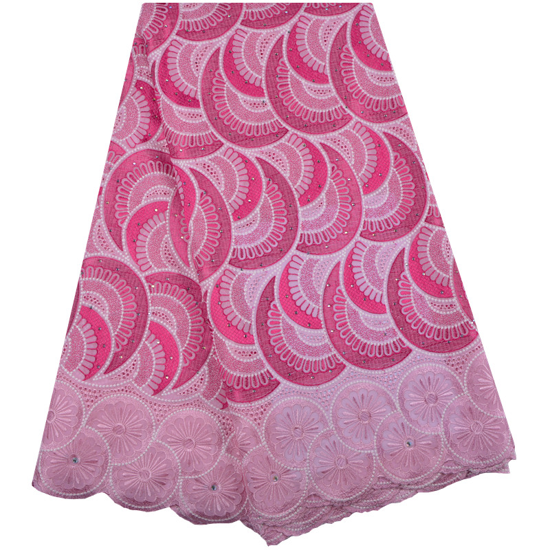 African Dry Lace Fabric Swiss Voile With Stones Swiss Cotton Lace High Quality 2019 pink Lace