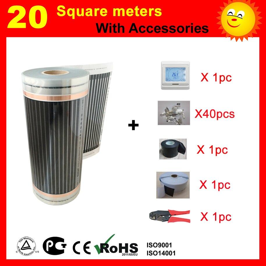 TF 20 SQ com termostato Filme de Aquecimento Elétrico e acessórios, AC220V aquecedor de infravermelhos para aquecimento da casa