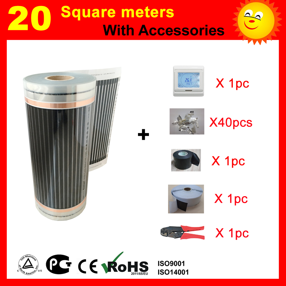 TF Electric Heating Film 20 SQ with thermostat and accessories , AC220V infrared heater for house warming