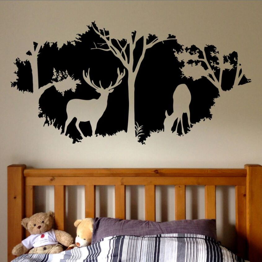 Woodland Stag Window Scene Wall Art Vinyl Stickers Mural Transfer Forest Trees