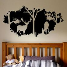 Forest Animals Wall Decal Country Hunting Design Window Wall Mural Forest Deers Vinyl Wall Sticker Home Bedroom Decor AY1418 magic forest style 13 pieces stair sticker wall decor