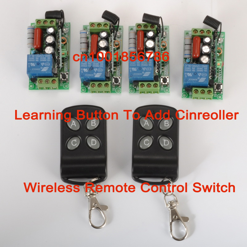 wireless remote control switch 4 Receiver&2Transmitter 220V 1CH 10A output state is adjusted 1CH 1000W Remote Control Light 2pcs receiver transmitters with 2 dual button remote control wireless remote control switch led light lamp remote on off system