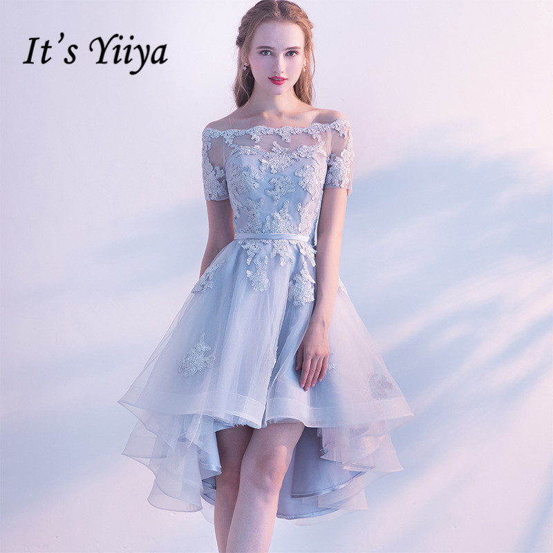 It's YiiYa In Stock Appliques Lace Boat Neck Gray Lace Up   Prom     Dresses   High And Low Formal Gowns LX454