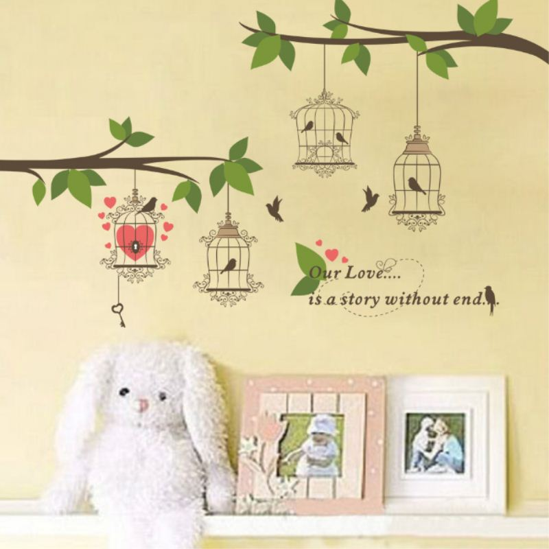New Wall Paper Many Birds Cage House Tree Branch Wall Decal Sticker ...