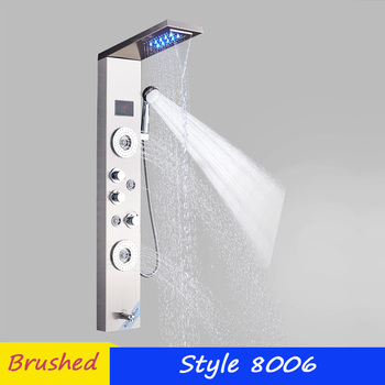 LED Shower Panel Stainless Steel Wall Mount Shower Column Panel Tower System LED Rain Waterfall Shower Jets Tap Hand Shower Tub 14