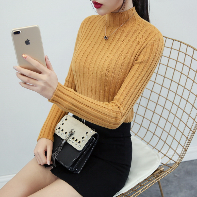 Half-turtleneck sweater women's bottoming shirt autumn and winter new thickened long-sleeved Slim Joker sweater