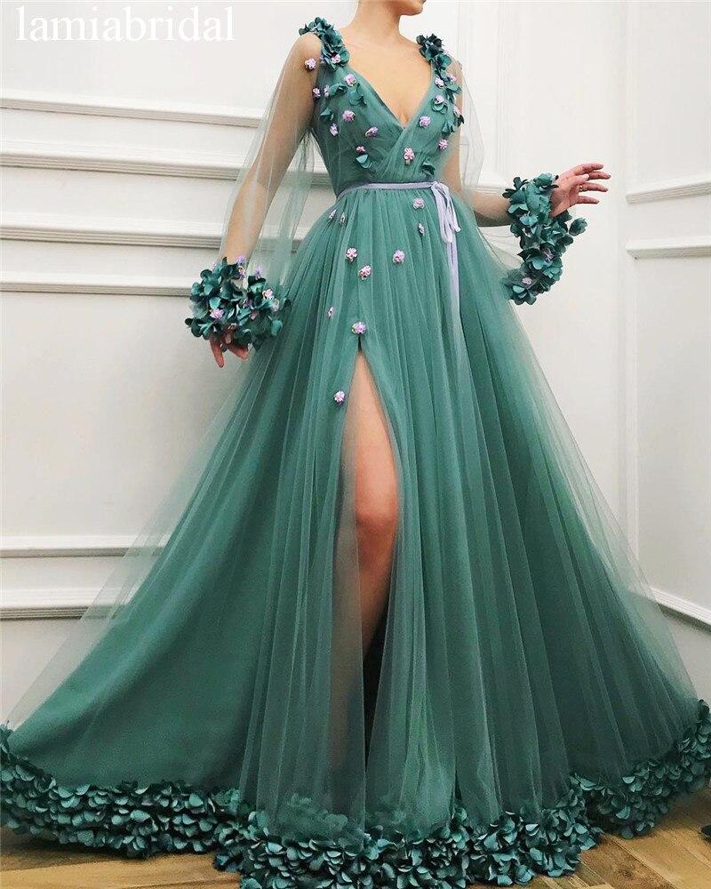 Princess 3D Floral Green   Prom     Dresses   2019 A Line Long Sleeves Plus Size High Split Girls Pageant Vestidos De Fiesta De Noche