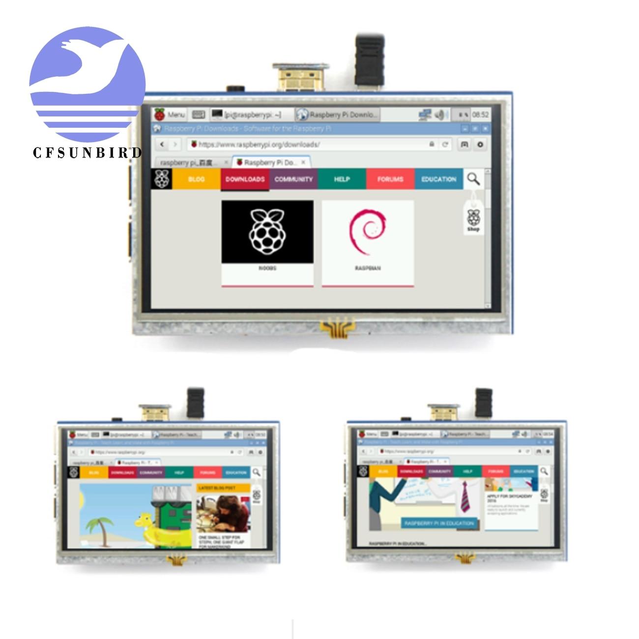 شاشة لمس مقاوم 5 بوصة TFT Pi 4 Pi Raspberry Pi 5.0 بوصة وحدة درع LCD واجهة HDMI لـ Raspberry Pi 3 A +/B +/2B