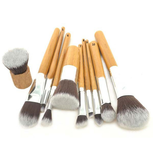 Hot Sale Beauty 10pcs Professional Natural Bamboo Handle Makeup Brush Set Tools Cosmetics Tools Kit Make Up Brush Makeup Brushes