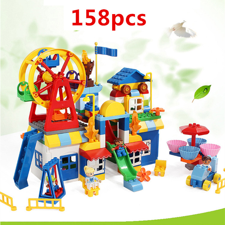 158pcs Quality Large Building Blocks Playground Blocks Parts Baby DIY Toys Educational Toys for Children Compatible with Duploe158pcs Quality Large Building Blocks Playground Blocks Parts Baby DIY Toys Educational Toys for Children Compatible with Duploe