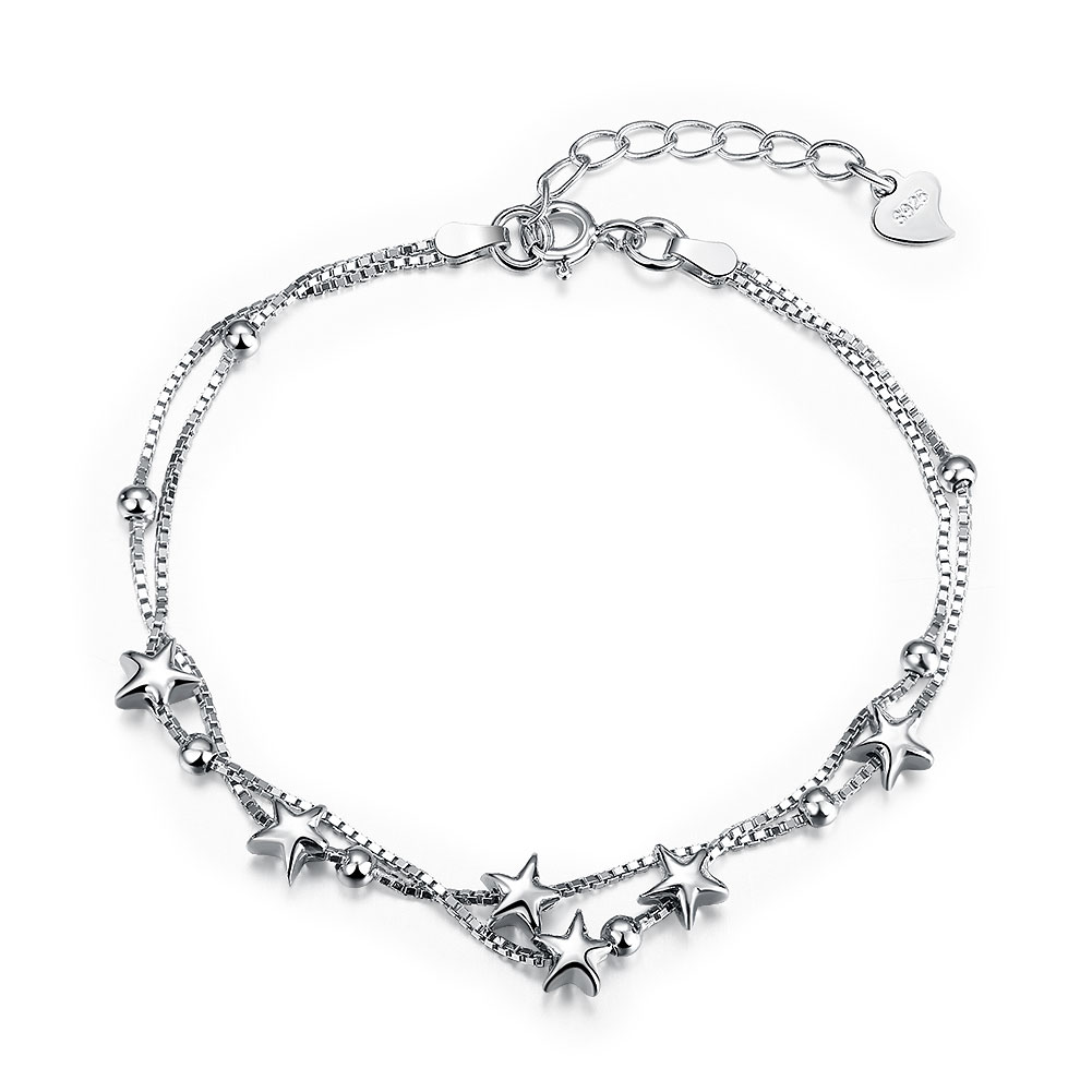 925 sterling genuine silver fashion Romantic sky Star Double Layer chain bracelets bangles fine bracelet