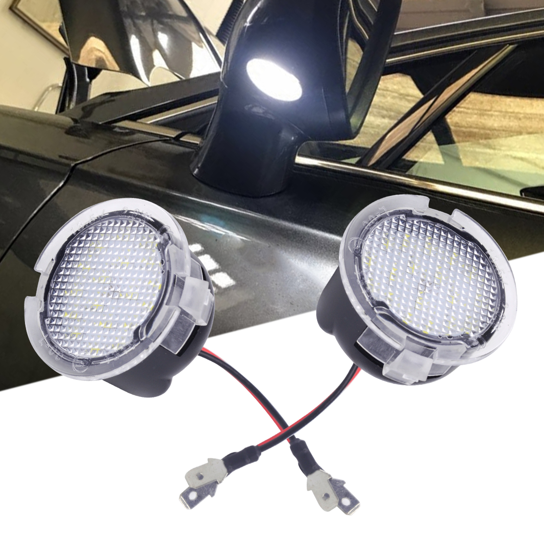 CITALL 2 PCS Haute Puissance Blanc LED Côté Miroir Éclairage vers le sol Fit pour Toyota Tundra 2007-2010 2011 2012 2013 2014 2015 2016 2017