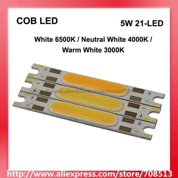 COB 5 W 21-LED 500mA blanco cálido 3000 K/blanco neutro 4000 K/blanco 6500 K LED emisor COB