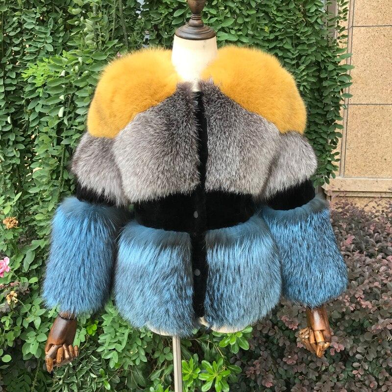 2018 Новый Настоящее серебро пальто с мехом лисы для Для женщин зима естественно стрижки овец полным ходом Теплая куртка роскошный Silver Fox Мехо...