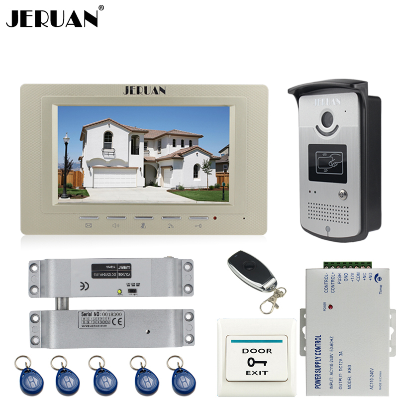 JERUAN Home 7 inch LCD screen video door phone Entry intercom system kit 700TVL RFID Access IR Night Vision Camera jeruan home 7 lcd screen video door phone entry intercom system kit 700tvl rfid access ir night vision camera exit button