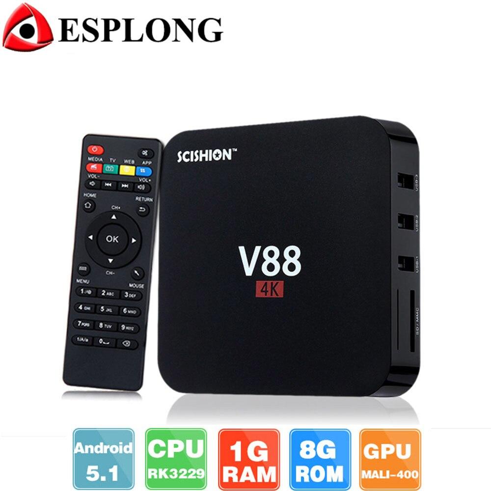 Venta caliente RK3229 V88 Android TV box Rockchip 1 GB 8 GB Quad Core Caja IPTV