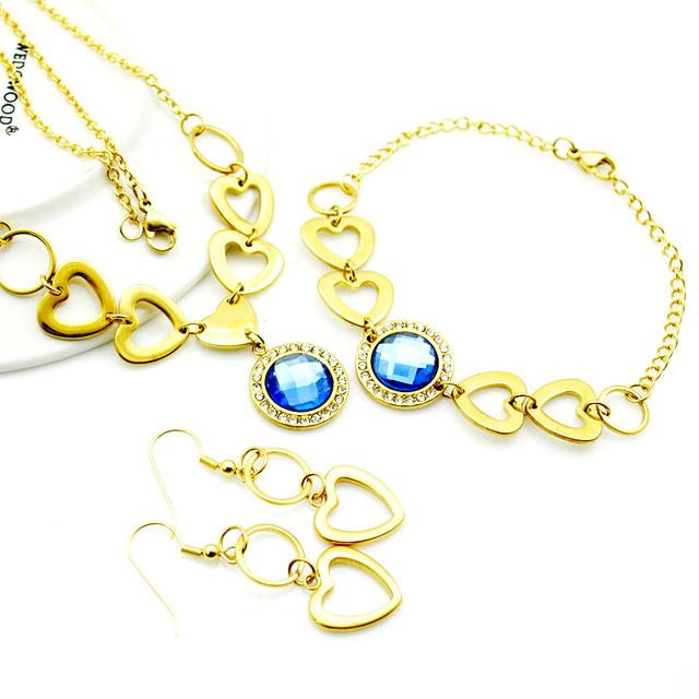 Pedra azul romântico coração pingente colar pulseira brincos conjuntos de jóias para mulheres de aço inoxidável romântico presentes do partido LTS554