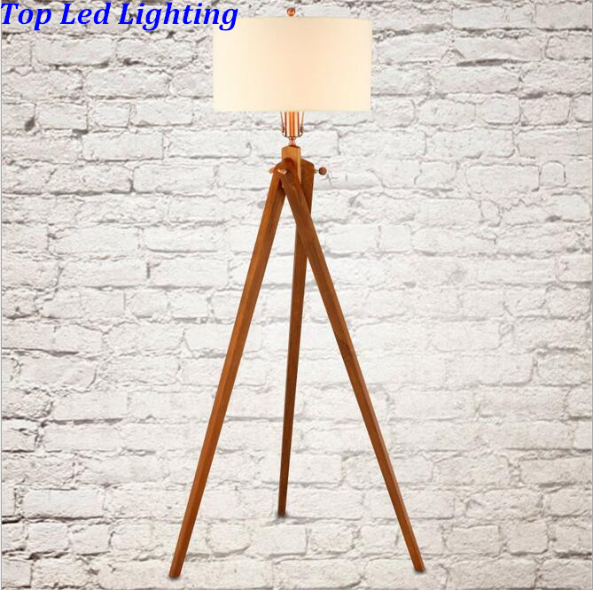 Country Fabric Wood 3 Legs Floor Lamp For Living Room Bedroom Restaurant  Fashion Wooden Floor Lamp 1186 In Floor Lamps From Lights U0026 Lighting On ...