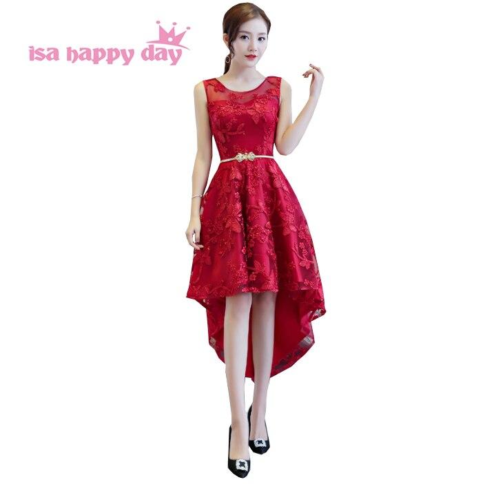 Été occasion spéciale haute basse sexy dentelle bordeaux vin rouge robes de bal dames femmes tapis robe 2019 nouveauté H4253