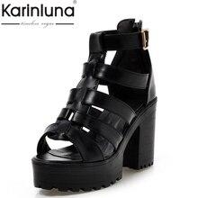 Большие размеры 34–43 модные римские Стиль обувь Женские однотонные босоножки-гладиаторы с открытым носком Пряжка женские сандалии на платформе черный белый