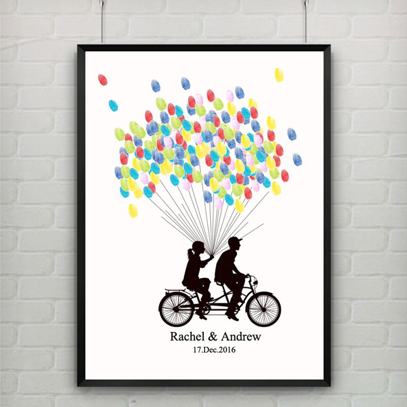 bicycle lovers diy custom no frame fingerprint canvas painting wedding souvenir guest book signature for party