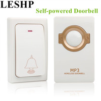 LESHP Self Powered Wireless Doorbell Remote Button And Receiver MP3 Operating Up To 200m Waterproof Door