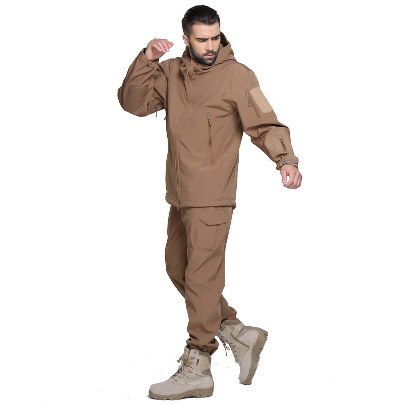 ФОТО Outdoor Hiking Camping Hunt Jacket And Pants Waterproof Windproof  Breathable Soft Shark Skin Suits Coat and Trousers S-XXXL