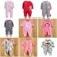 цены Baby Rompers Winter Warm Fleece Clothing Set for Girls Cartoon Monkey Infant Girls Clothes Newborn Overalls Baby Jumpsuit