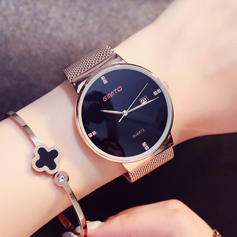 2017 gimto fashion gold women watches girl luxury brand ladies quartz couple watch diamond clock for Celebrity watches female 2018