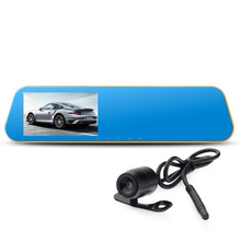 High Quality Practical Full HD 1080P Dual Lens 4.3Inch LCD Car DVR Rearview Mirror Car Camera Tachograph With Blue Review Mirror