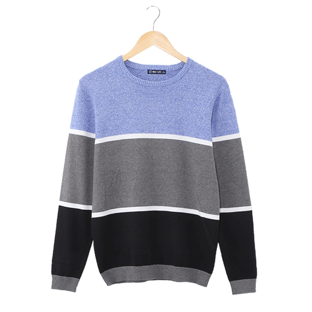 Vomint Mens Pullovers Sweaters O-neck Wear Basic Style Stitching three-color design Preppy Shirts  Regular Fashion H6VI6941