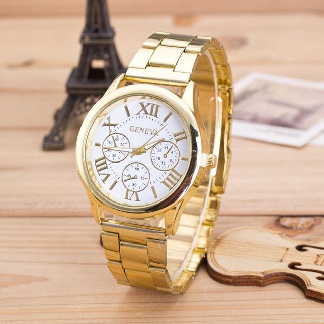 Clock Ladies Watch Roman Numerals Quartz Stainless Steel Wrist Men Watch Casual