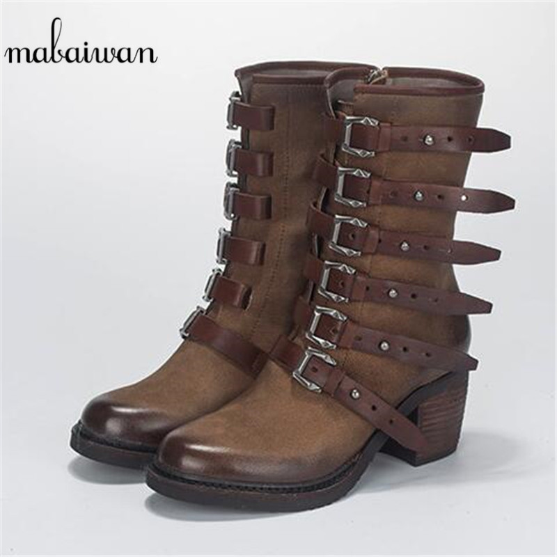 Mabaiwan 2017 New Fashion Boots Brown Genuine Leather Women Shoes Military Ankle Boots Buckle Winter Med Heel Warm Shoes Women mabaiwan handmade rivets military cowboy boots mid calf genuine leather women motorcycle boots vintage buckle straps shoes woman