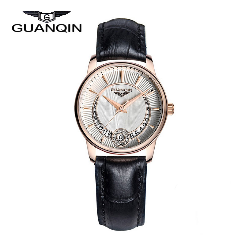ФОТО GUANQIN GQ15009 Womens Watches Top Brand Luxury Crystal Watch Fashion Women Date Leather Dress Quartz Wristwatches reloj mujer
