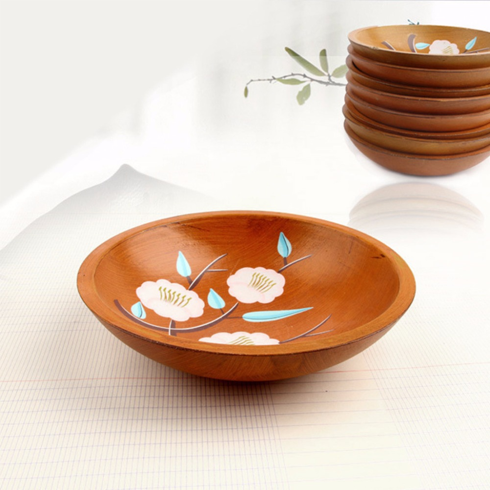 Hand Painted Flowers Serving Plate Round Fruit Dessert Snack Candy Platter Bowls Home Tableware C42 3