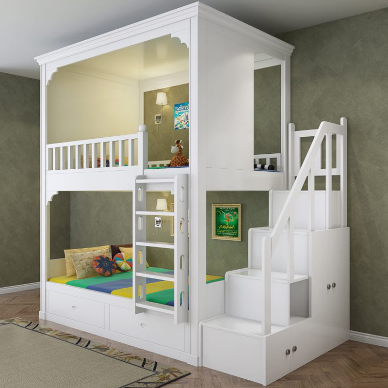 Bed For Children Boys With Ladder Cabinet Double Bed|Children