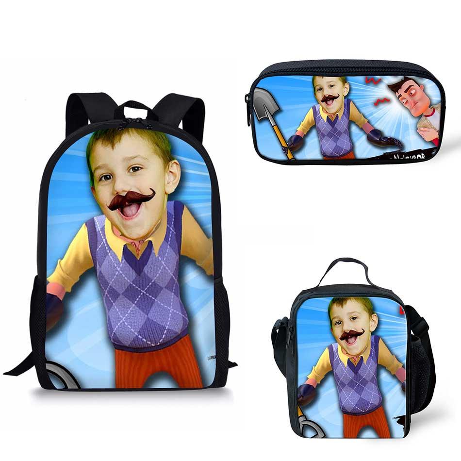 d2c68bbab7 Noisydesigns Image 3Pcs Set hello neighbor Print School Bags Kids Boy School  Backpacks Shoulder Bagpack