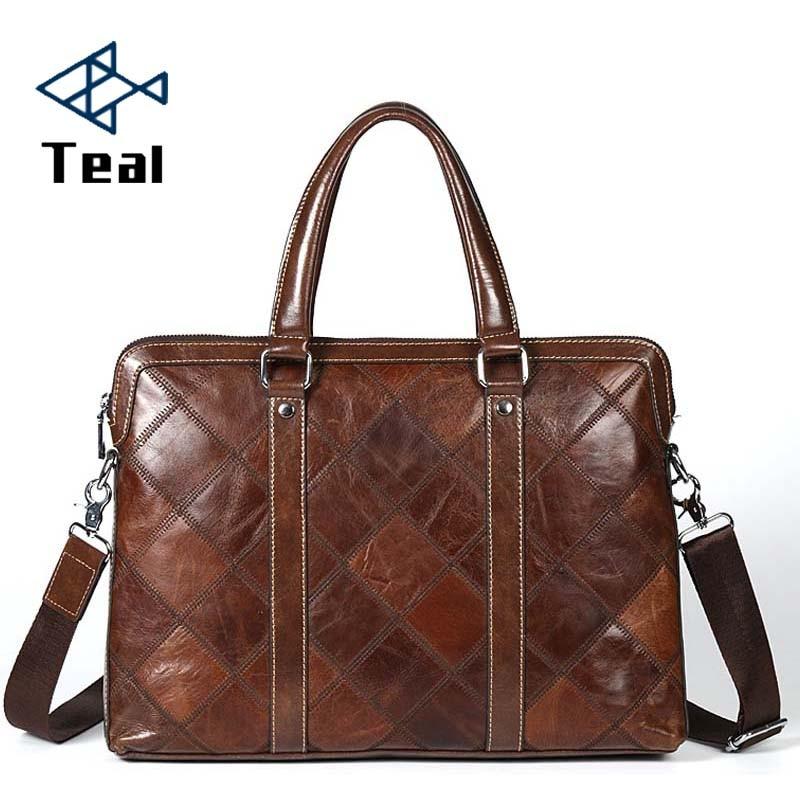 Men Business Bags Genuine Leather Briefcases Bag Luxury Brands Desinger Handbag Messenger Bag Male Bags Vintage Casual Tote New