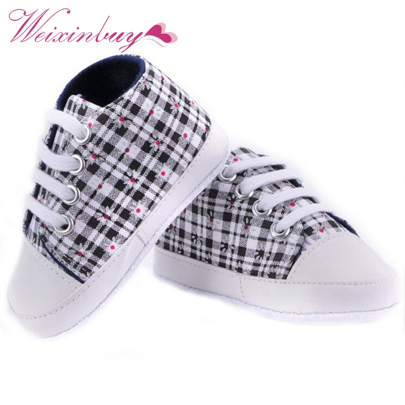 2016 Infant First Walker Toddler Newborn Baby Boys Girls Soft Sole Crib Casual Shoes Sneaker 0-18M