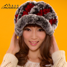 Autumn and winter fur rex rabbit hair female hat bud thickening thermal