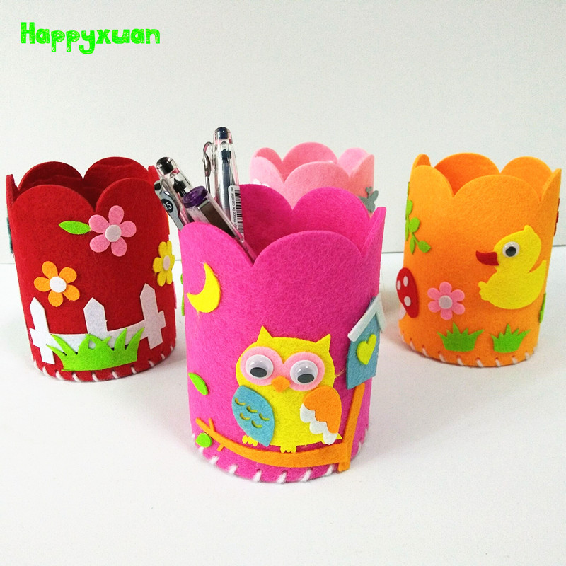 Happyxuan 8pcs Sewing Kit Toy Felt Fabric DIY Pen Holder Children Handcraft Supplies Creative Kid Preschool Educational Material