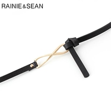 RAINIE SEAN Black Thin Belt Women Knot Belt Pu Leather Ladies Belts For Dresses Red Black White Pink Green Self Tie Female Belt self tie belt