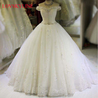 2018 bridal plus size neckline hot long trailing Boat Neck wedding dress Ball Gown