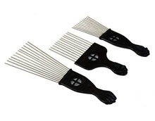 3 Style Steel pin flat comb hair comb for professional styling collection metal fan pik
