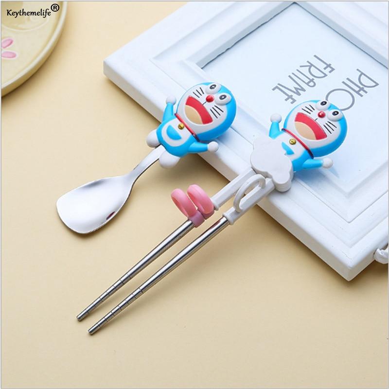 Keythemelife Cartoon Kids Children Learning Training Chopsticks Spoon Baby Enlightenment Chopsticks Spoon Dinnerware 0D