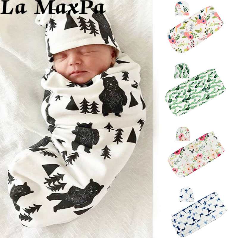 2Pcs/Set Newborn Baby Swaddle Blanket Sleeping Bag Hat Set Baby Sleeping Swaddle Newborn Swaddle Muslin Wrap Photograph Props
